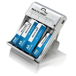 Carregador de Pilhas com Saída USB Multilaser - CB073